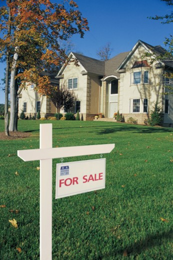 Stock Photo: 1557R-0444 For sale sign in front of house