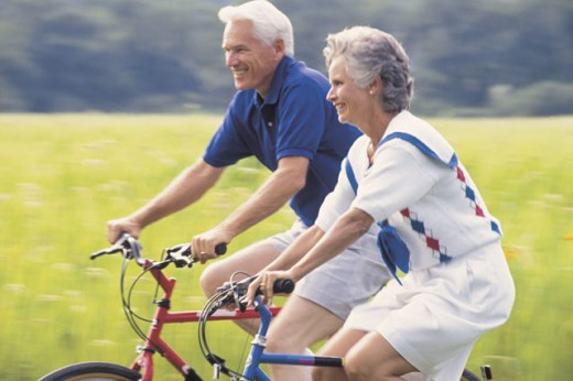 Couple on bicycles : Stock Photo