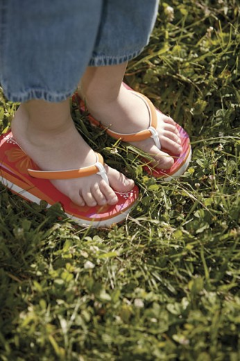 Child's feet in flip-flops : Stock Photo