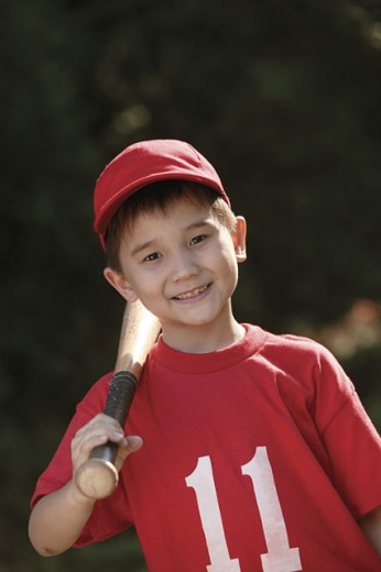 Stock Photo: 1557R-08600 Boy with baseball gear