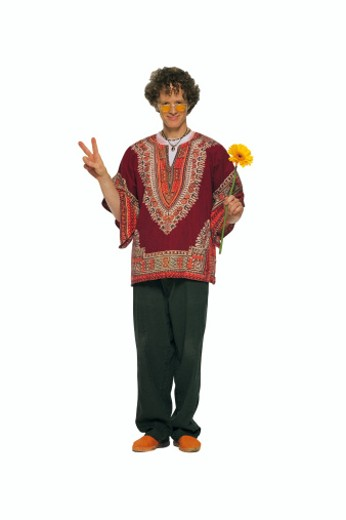Stock Photo: 1557R-170029 Hippie giving peace sign