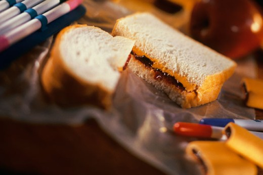 Stock Photo: 1557R-267092 Peanut butter and jelly sandwich