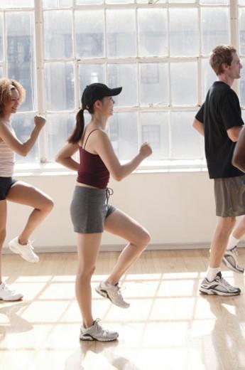 Exercise class stationary walking : Stock Photo