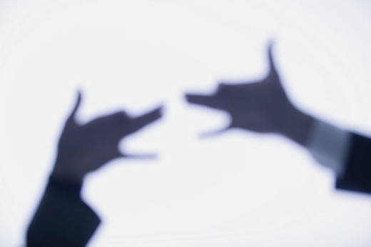 Hands making shadow figures of dogs : Stock Photo