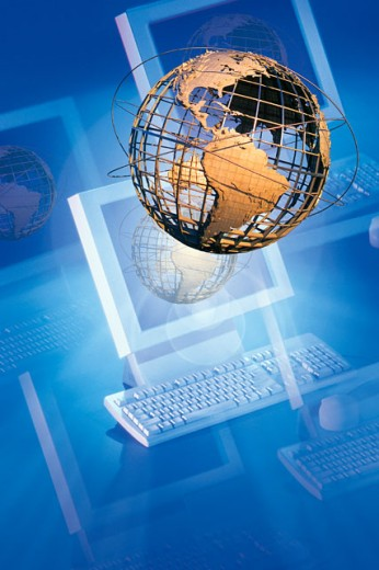 Stock Photo: 1557R-276560 Globe coming out of computer screen