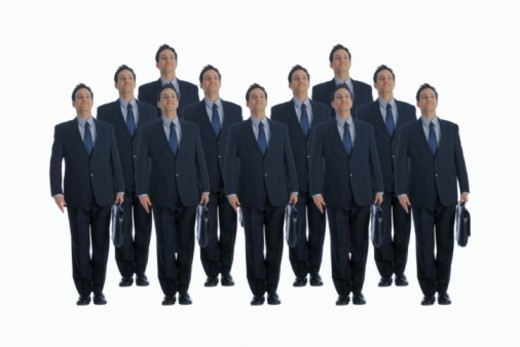Stock Photo: 1557R-276637 Cloned businessmen