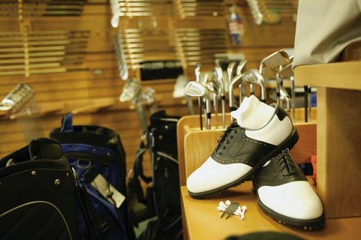 Stock Photo: 1557R-277142 Golf equipment display
