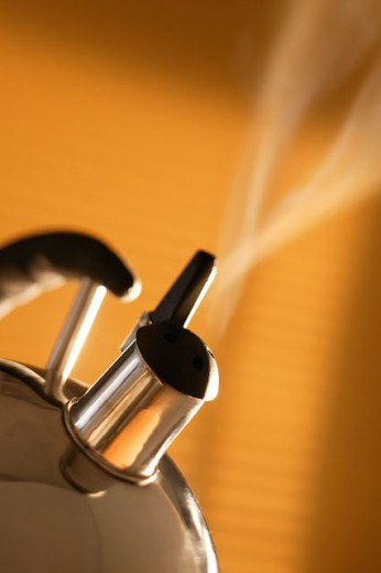 Steaming teakettle : Stock Photo