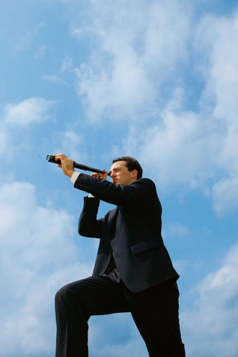 Stock Photo: 1557R-277719 Man with a telescope
