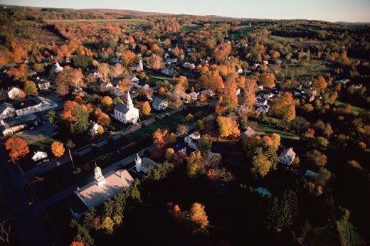 Aerial view of countryside town : Stock Photo