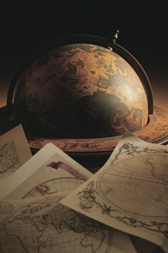 Antique globe with maps : Stock Photo