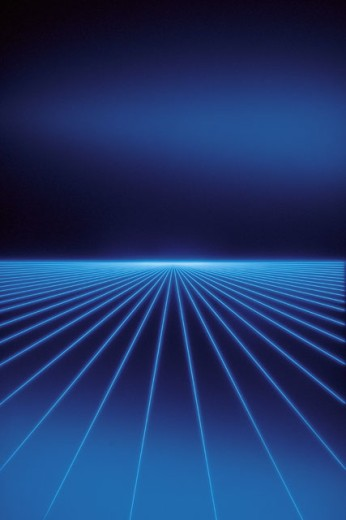 Illustration of lines converging on horizon : Stock Photo