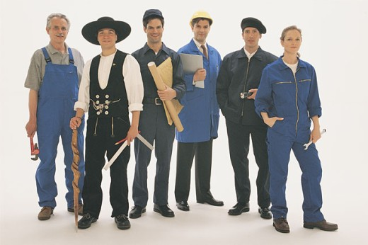 Group portrait of different occupations : Stock Photo