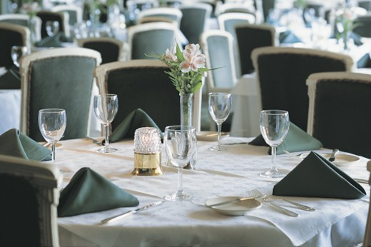 Stock Photo: 1557R-281541 Table setting in restaurant