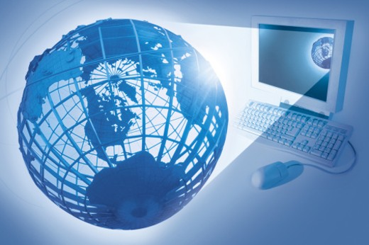 Composite of computer with globe : Stock Photo