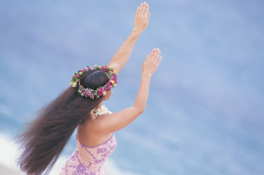 Woman hula dancing , Hawaii : Stock Photo