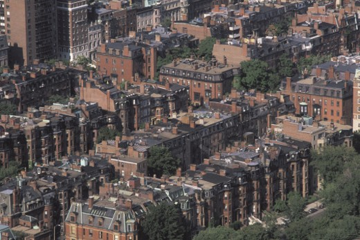 Aerial view of Boston , Massachusetts : Stock Photo