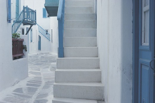 Stairs on side of building , Mikonos , Greece : Stock Photo