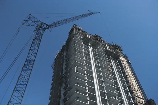 Stock Photo: 1557R-282055 Construction site and crane