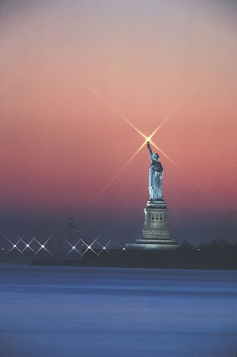 Statue of liberty at dusk : Stock Photo
