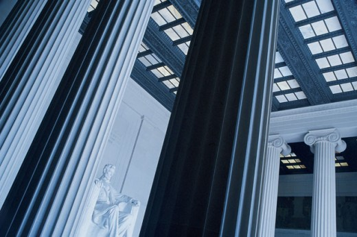 Stock Photo: 1557R-282659 Lincoln Monument and columns , Washington DC