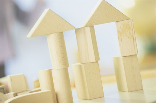Stock Photo: 1557R-283030 Building blocks stacked