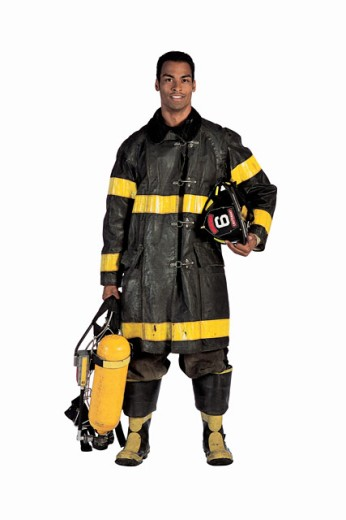 Fireman in turnout gear : Stock Photo