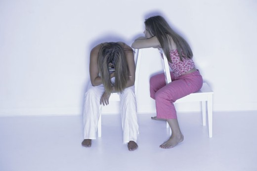 Stock Photo: 1557R-288016 Depressed teenagers