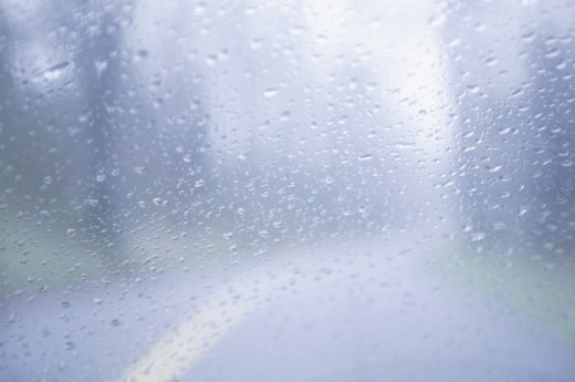 Rain on windshield : Stock Photo