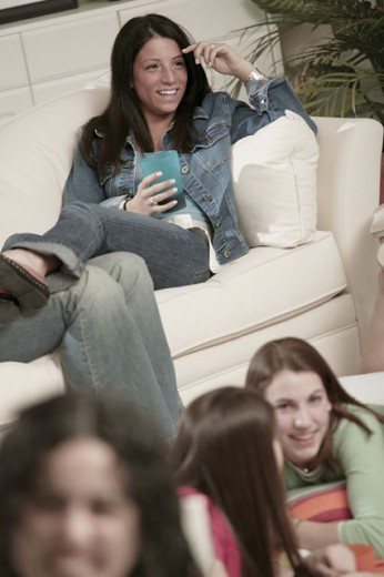 Stock Photo: 1557R-291584 Teenage girl with other girls