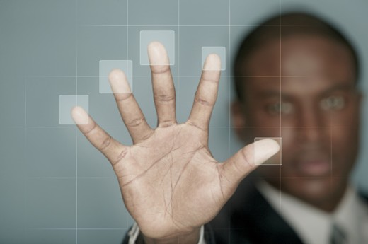 Stock Photo: 1557R-291818 Businessman using biometric technology
