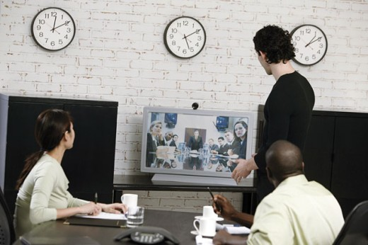 Video conference in business meeting : Stock Photo