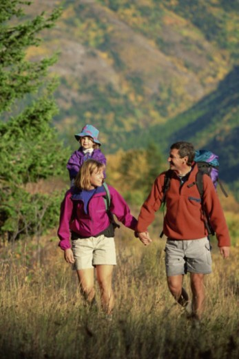 Family hiking : Stock Photo