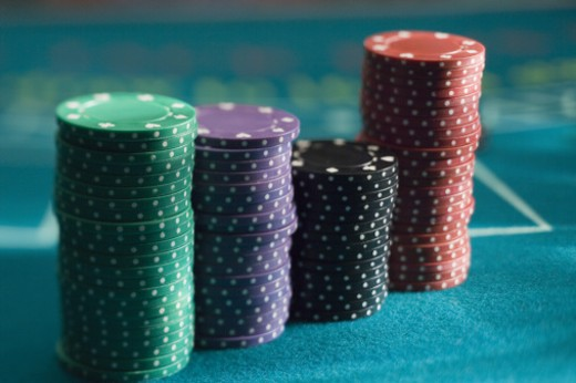 Stacks of poker chips : Stock Photo