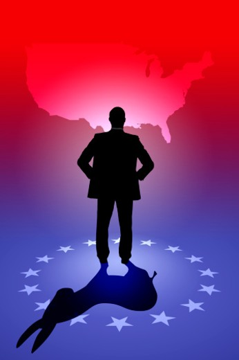 Silhouette of politician casting donkey shadow : Stock Photo