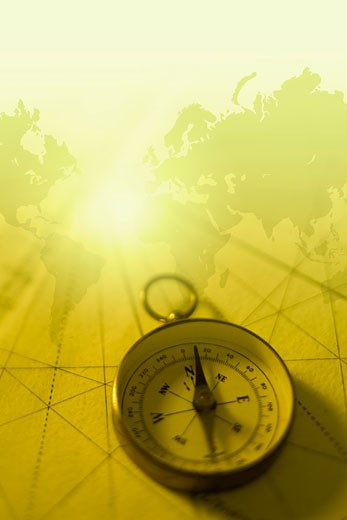 World map and compass : Stock Photo