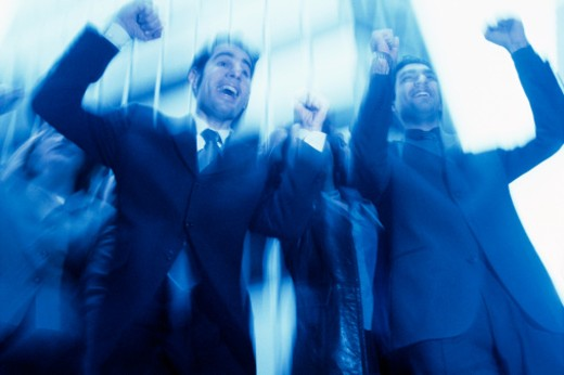 Stock Photo: 1557R-312015 Businesspeople cheering