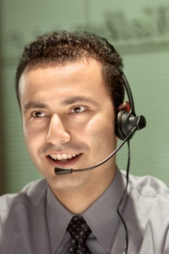 Man wearing headset : Stock Photo