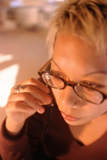 Stock Photo: 1557R-313943 Woman wearing headset