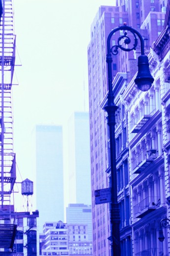 Streetlight and buildings of New York City : Stock Photo