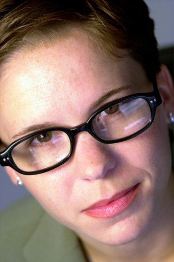 Portrait of woman wearing glasses : Stock Photo