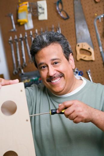 Stock Photo: 1557R-343245 Man using screwdriver