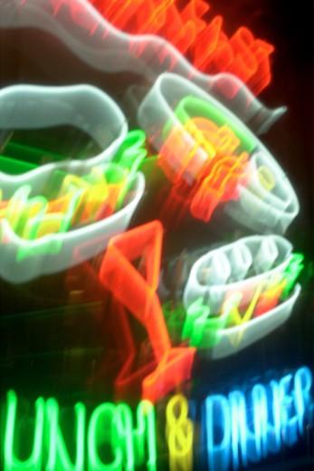 Stock Photo: 1557R-349269 Neon signs lit