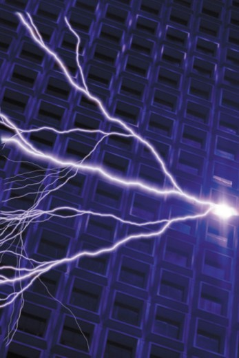 Composite of lightning bolts and grid pattern : Stock Photo