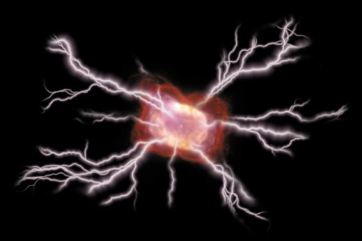 Stock Photo: 1557R-353205 Composite of lightning bolts emanating from void