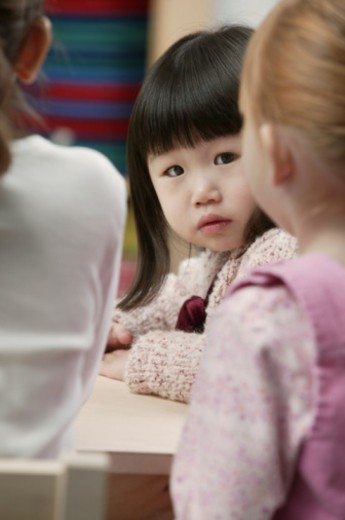 Stock Photo: 1557R-353249 Little girl in pre-school class