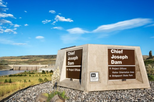 Chief Joseph Dam, Washington : Stock Photo