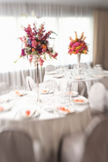 Stock Photo: 1557R-354493 Tables in an upscale restaurant