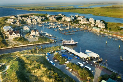 Aerial view of coastal resort, Bald Head Island, North Carolina : Stock Photo