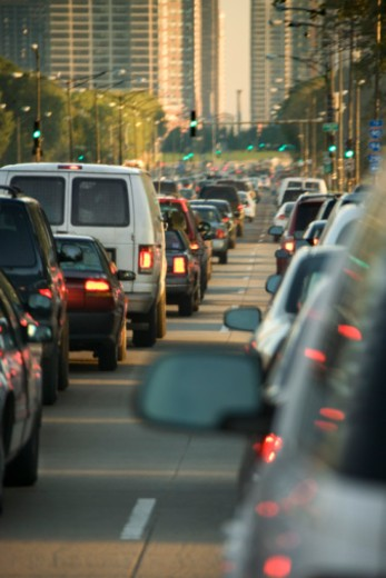Stock Photo: 1557R-354903 Traffic jam in downtown Chicago